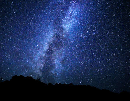 night sky and stars: Stars in the Night Sky, Milky Way Galaxy Stock Photo