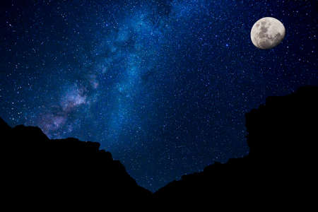 noche estrellada: Estrellas en el cielo nocturno, Galaxia de la Vía Láctea Foto de archivo