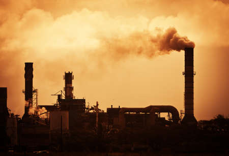 warming: Global Warming Smoke Rising from Factory