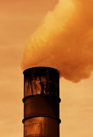 Global Warming Smoke Rising from Factory photo