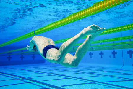 swimming competition: Swimmer in the Pool Underwater Stock Photo