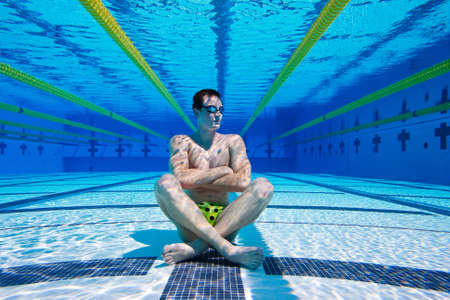 Swimmer in the Pool Underwater Banco de Imagens