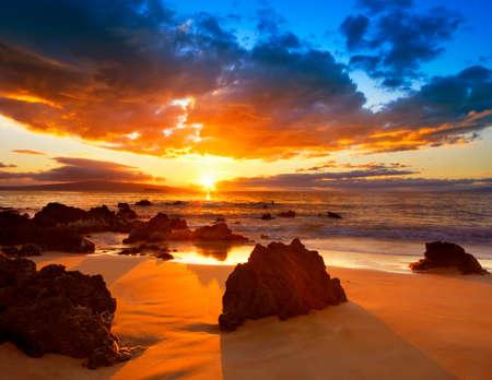 beach sunrise: Dramatic Vibrant Sunset in Hawaii