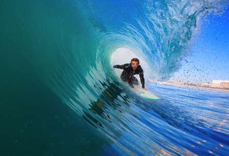 surfing wave: Surfer On Blue Ocean Wave