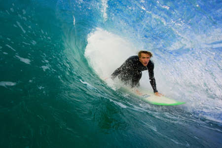Surfer On Blue Ocean Wave Stock Photo - 11945977