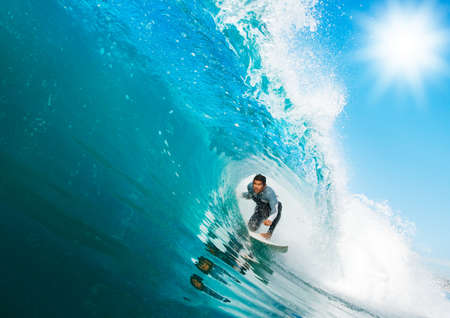Surfer On Blue Ocean Wave Stock Photo - 11946028
