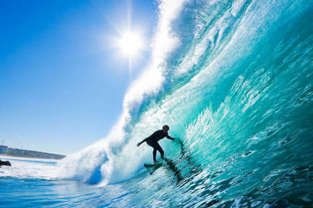 Surfer On Blue Ocean Wave Stock Photo - 11946036