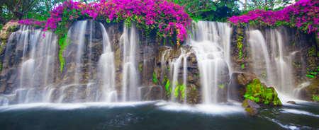 cascade mountains: Beautiful Lush Waterfall Stock Photo