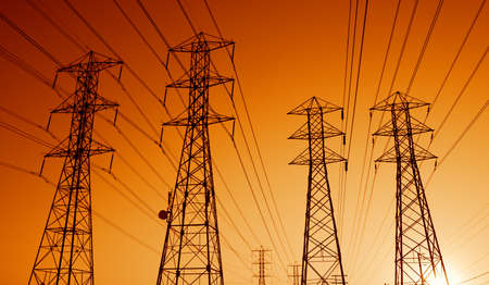 Electric Power Transmission Lines at Sunset photo