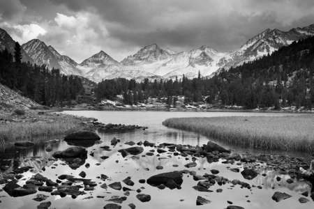 mountain range: Dramatic Landscape, Mountain in Black and White Stock Photo