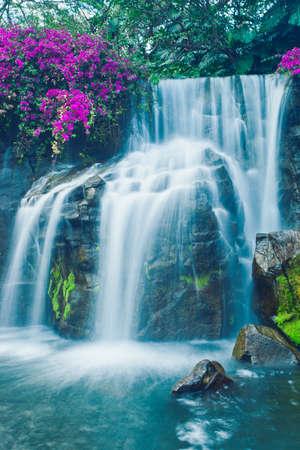 Beautiful Blue Waterfall in Hawaii photo
