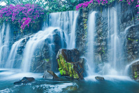 Beautiful Blue Waterfall in Hawaii photo