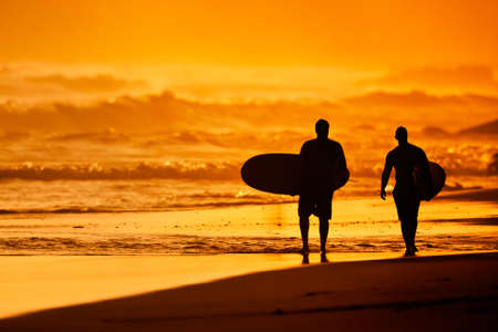 Silhouettes of Surfers on the Beach at Sunset