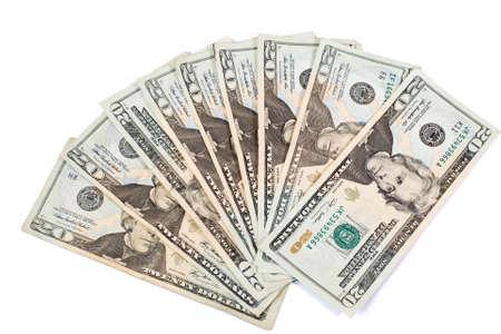 dollar bills: 20 Dollar Bills; contante Archivio Fotografico