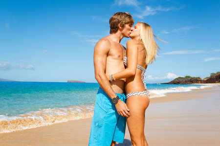 lover boy: Attractive Young Couple on Tropical Beach Stock Photo