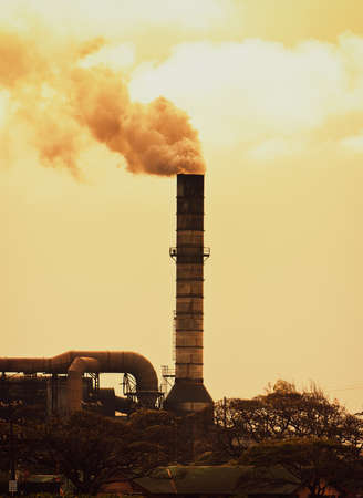 Concept of Global Warming, Pollution smoke from factory photo