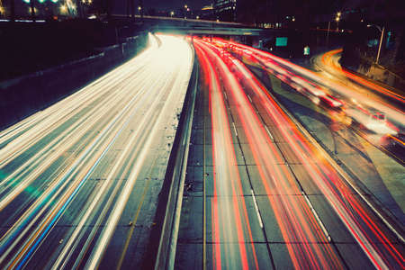 light zoom: Freeway Traffic at Sunset