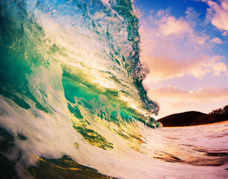 Beautiful Sunset Wave Stock Photo