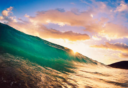 northshore: Beautiful Sunset Wave Stock Photo