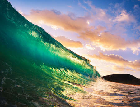 northshore: Beautiful Sunset Wave Stock Photo