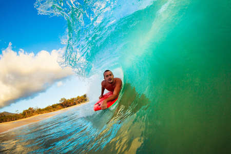 Body Boarder on Large Wave Surfing in the Tube Getting Barreled Stock Photo - 13540146
