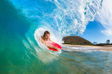 Boogie Boarder Surfing Amazing Blue Ocean Wave Stock Photo - 13613540