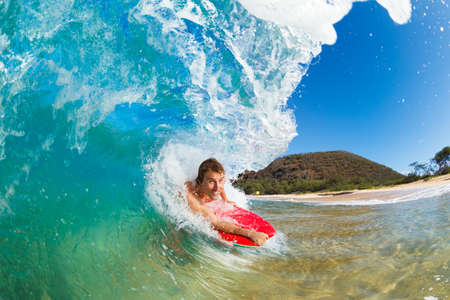 Boogie Boarder Surfing Amazing Blue Ocean Wave Stock Photo - 13613543