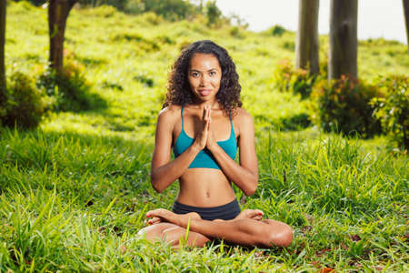 Beautiful Woman Practicing Yoga Outside in Nature Stock Photo - 13613533