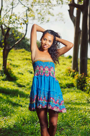 Pretty African American Woman Outside on Beautiful Sunny Day  Stock Photo - 13613492