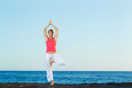 Beautiful Yoga woman Practicing Yoga by the Ocean Stock Photo - 13613308