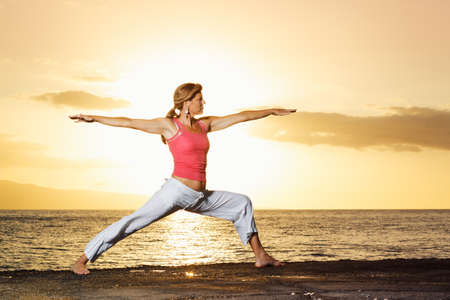 Beautiful Yoga Woman at Sunset Stock Photo - 13613371