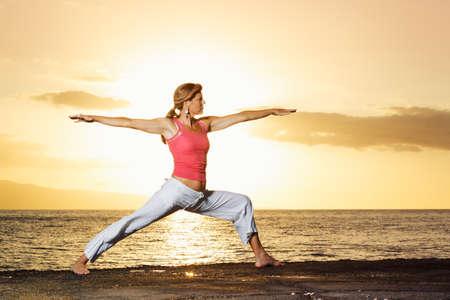 Beautiful Yoga Woman at Sunset Stock Photo - 13613371