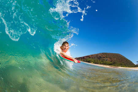 Boogie Boarder Surfing Amazing Blue Ocean Wave Stock Photo - 13613532