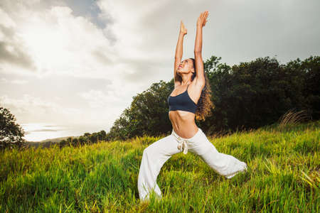 yoga woman outside in nature Stock Photo - 13721462