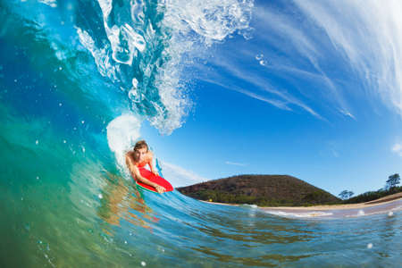 Body Boarder Surfing Blue Ocean Wave photo