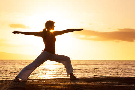 yoga silhouette: Silhouette of a beautiful Yoga woman in the morning