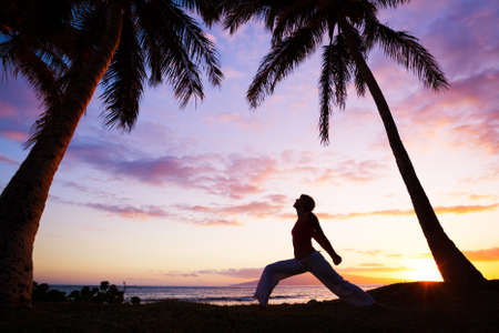 the color of silence: Silhouette of a beautiful Yoga woman in the morning