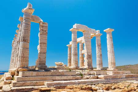 ギリシア神殿の遺跡、アテネ付近のポセイドンの神殿 写真素材