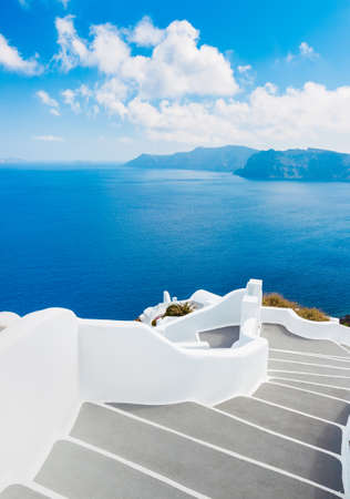greek island: Santorini Island, Greece, Beautiful View of Blue Ocean and Traditional Dome Church Architecture