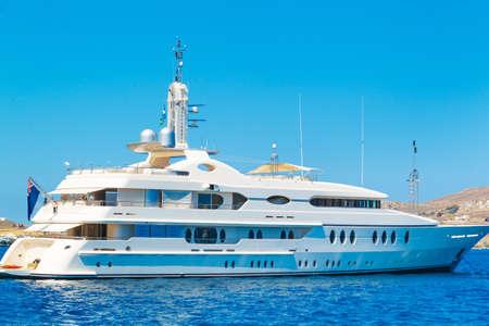 pleasure boat: Large Private Luxury Motor Yacht Stock Photo