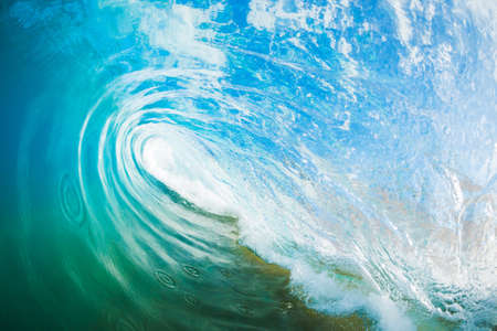 water wave: Blue Ocean Wave, View inside the Wave Stock Photo