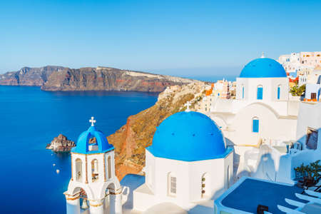 santorini: Beautiful View of Santorini Island, View of ocean caldera with churches Stock Photo