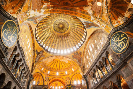 Decorative interior of the Beautiful Hagia Sofia Mosque, Istanbul, Turkey