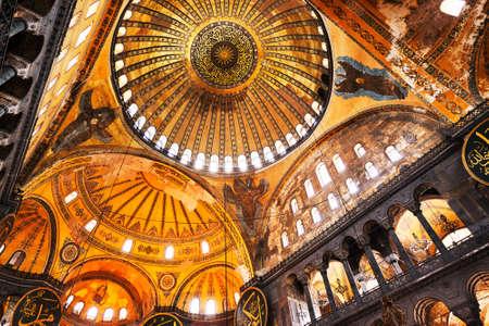 Décoration intérieure de la Belle mosquée Sainte-Sophie, Istanbul, Turquie