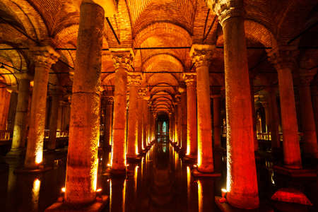 constantinople ancient: Underground Basilica Cistern, Istanbul, Turkey Editorial