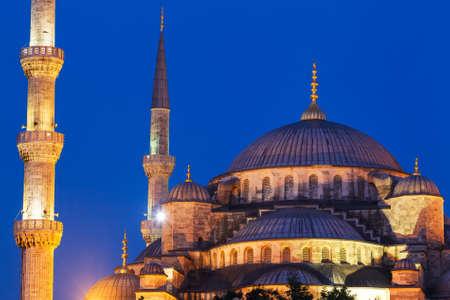 Zonsondergang over de Blauwe Moskee, Istanbul Turkije Stockfoto