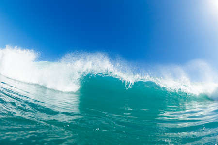 northshore: Blue Ocean Wave and Sunny Blue Sky Stock Photo