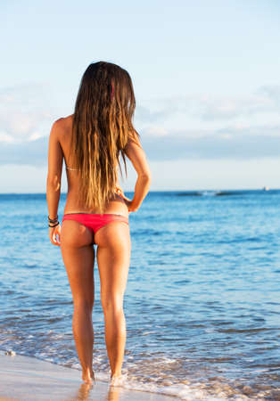 but: Rear view of beautiful sexy young woman surfer girl in bikini on a beach at sunset