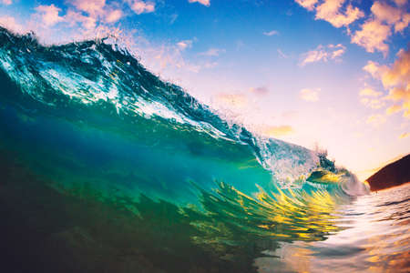 Ocean Wave at Sunset photo