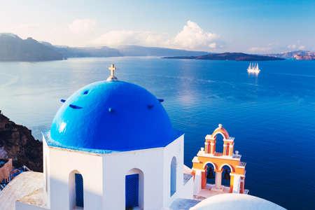 europeans: Church Bell Tower above Blue Sea, Santorini Island, Greece